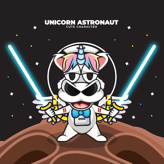 Cute cartoon character of unicorn astronaut holding light saber swords in the space