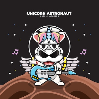 Cute cartoon character of unicorn astronaut playing guitar in the space