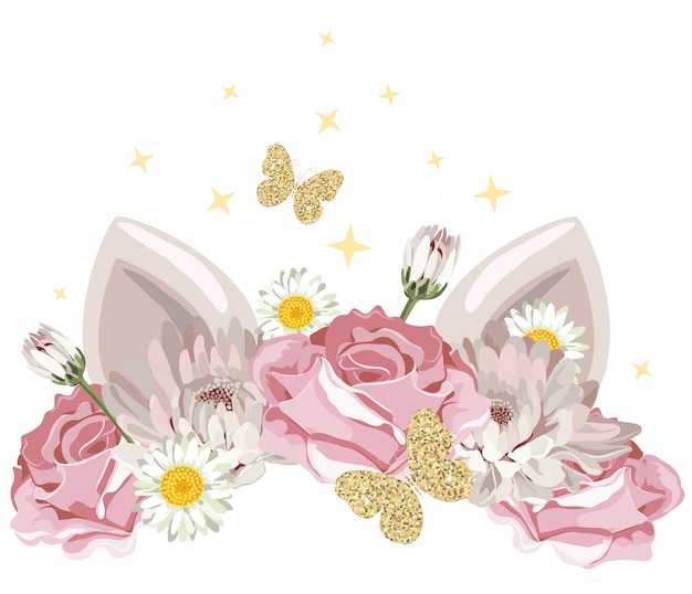 Cute cartoon character with floral wreath