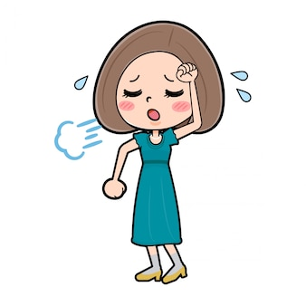 Милый мультипликационный персонаж женщин, устал