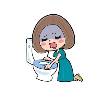 Cute cartoon character women, toilet nausea