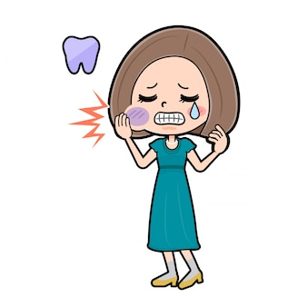 かわいい漫画のキャラクターの女性、歯痛