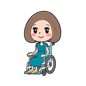 かわいい漫画のキャラクターの女性、車椅子