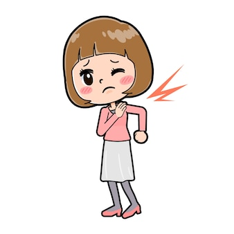Cute cartoon character of young woman with a gesture of low stiff shoulder.