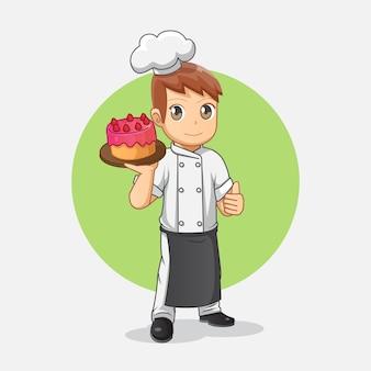 Cute cartoon chef carrying strawberry cake