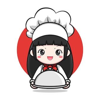 Милый мультфильм шеф-повар девушка дизайн персонажей