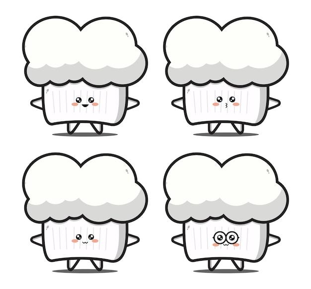 귀여운 만화 요리사 모자 귀여운 디자인 프리미엄