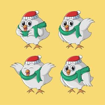Cute cartoon chicken christmas set  illustration