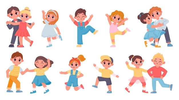かわいい漫画の子供たちの男の子と女の子がカップルで踊っています。幼稚園の子供たちはワルツを踊り、ジャンプして楽しんでいます。幸せな子文字ベクトルセット。クラシックパフォーマンス、子供向けのエンターテイメント