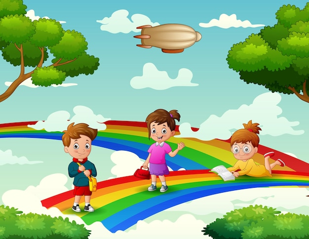 Cute cartoon the children on the rainbow
