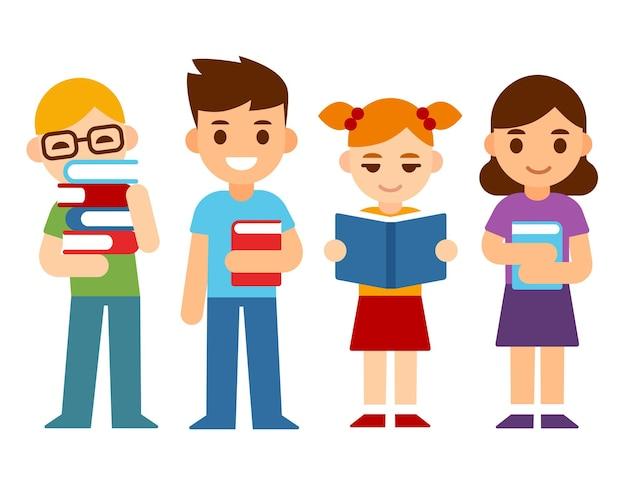本を持つかわいい漫画の子供たち男の子と女の子の読書