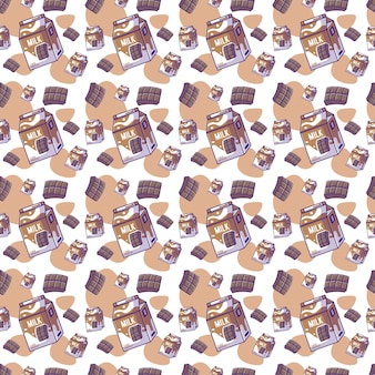 우유 원활한 패턴으로 귀여운 만화 초콜릿