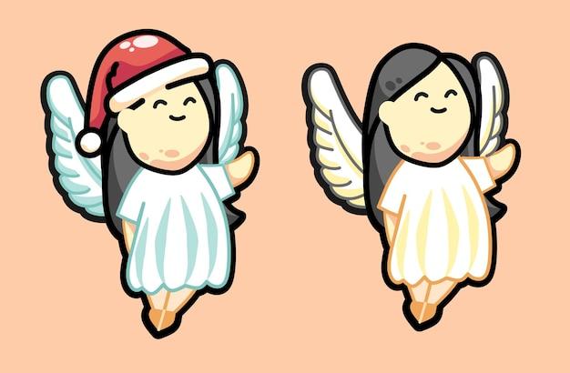 長い黒髪のかわいい漫画のクリスマスの天使ベクトルイラスト