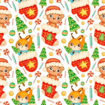 Cute cartoon christmas animals seamless pattern. christmas bear and squirrel pattern.