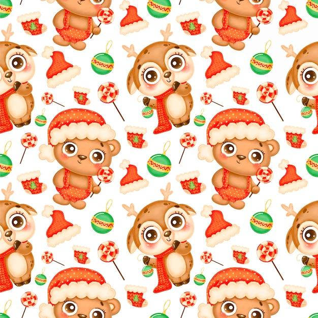 かわいい漫画のクリスマスの動物のシームレスなパターン。クリスマスの鹿とクマのパターン。