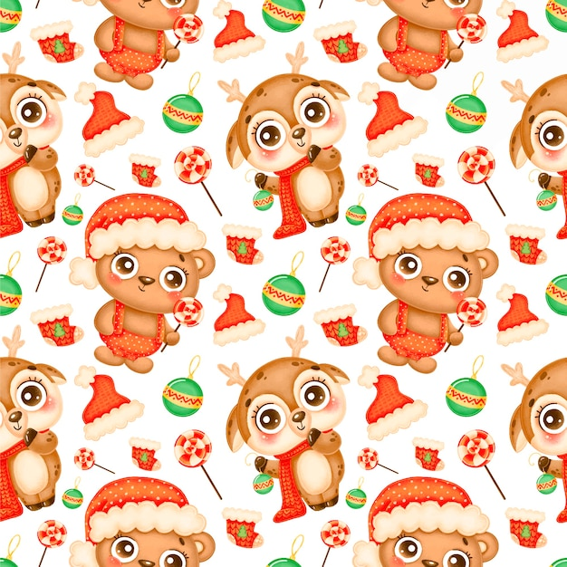 Cute cartoon christmas animals seamless pattern. christmas deer and bear pattern. Premium Vector