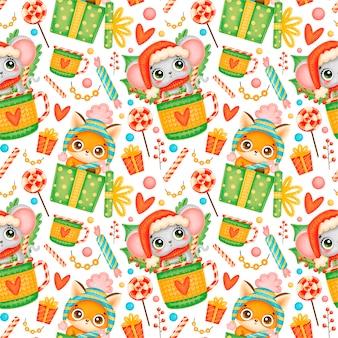 かわいい漫画のクリスマスの動物のシームレスなパターン。クリスマスのキツネとマウスのパターン。