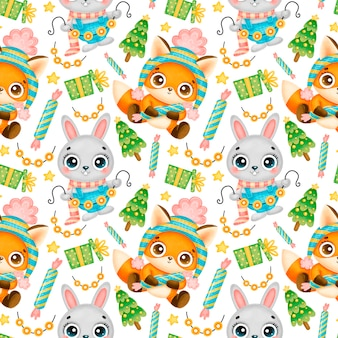 Cute cartoon christmas animals seamless pattern. christmas fox and bunny pattern.