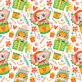 Cute cartoon christmas animals seamless pattern. christmas fox and mouse pattern.