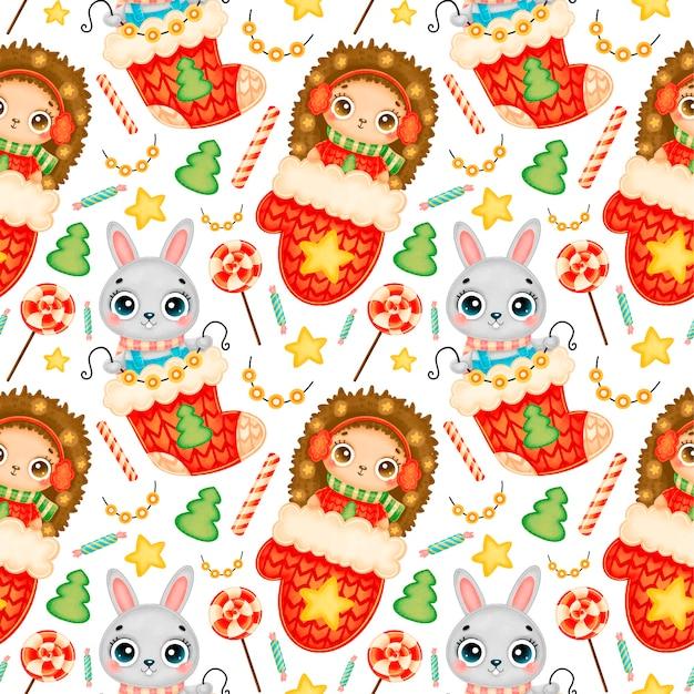 かわいい漫画のクリスマスの動物のシームレスなパターン。クリスマスのハリネズミとバニーのパターン。