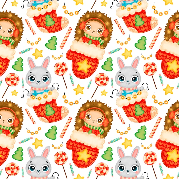 Cute cartoon christmas animals seamless pattern. christmas hedgehog and bunny pattern.