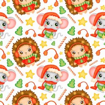 かわいい漫画のクリスマスの動物のシームレスなパターン。クリスマスマウスとハリネズミのパターン。