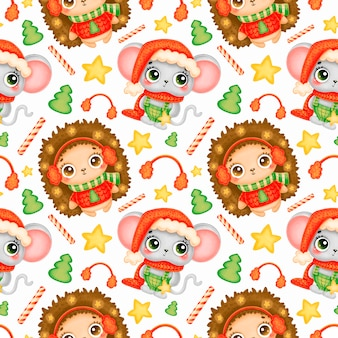 Cute cartoon christmas animals seamless pattern. christmas mouse and hedgehog pattern.