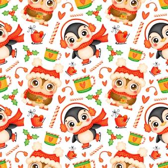かわいい漫画のクリスマスの動物のシームレスなパターン。クリスマスのペンギンとフクロウのパターン。