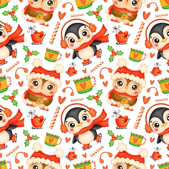 Cute cartoon christmas animals seamless pattern. christmas penguin and owl pattern.