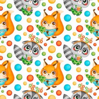 かわいい漫画のクリスマスの動物のシームレスなパターン。クリスマスのアライグマとリスのパターン。