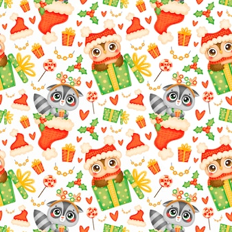 Cute cartoon christmas animals seamless pattern. christmas raccoon and owl pattern.