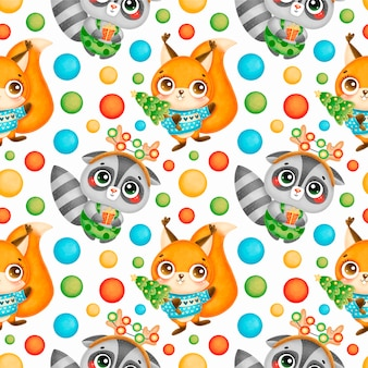 Cute cartoon christmas animals seamless pattern. christmas raccoon and squirrel pattern.