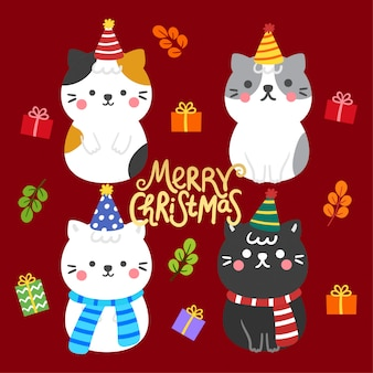 Cute cartoon christmas cats and gift boxes vector.