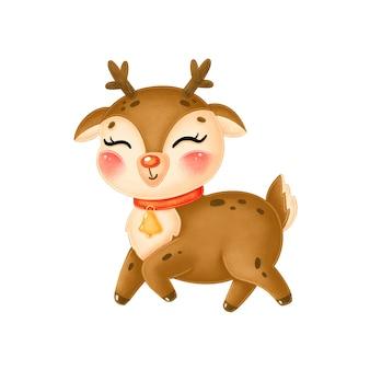 Cute cartoon christmas deer with bell