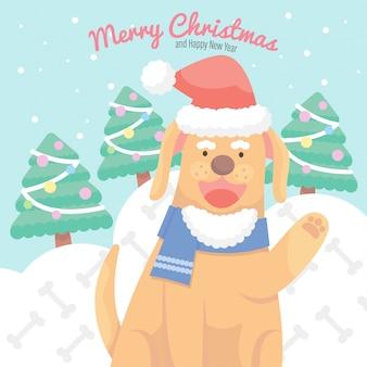 Cute cartoon christmas dog