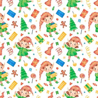 Симпатичные мультяшные рождественские эльфы бесшовные модели