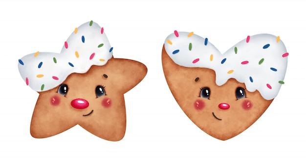 Cute cartoon christmas ginger cookies heart and star set