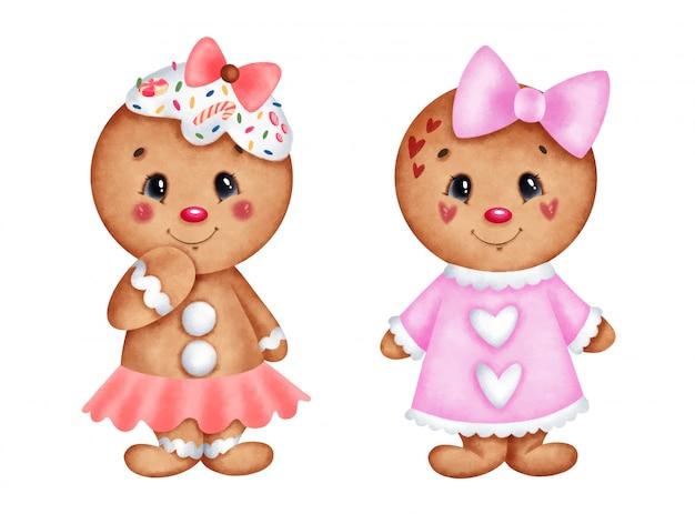 Cute cartoon christmas gingerbread girls set