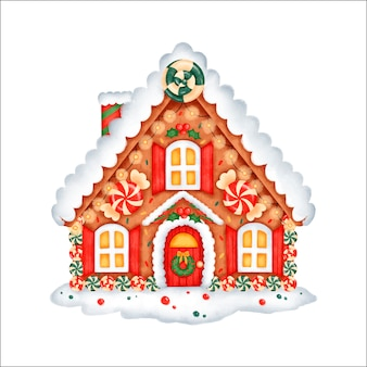 Cute cartoon christmas gingerbread house with sweets