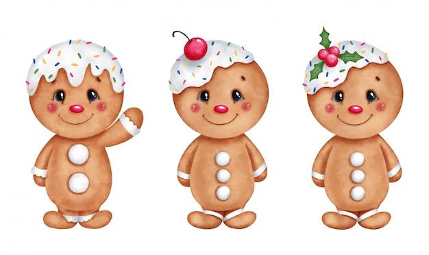 Cute cartoon christmas gingerbread men set