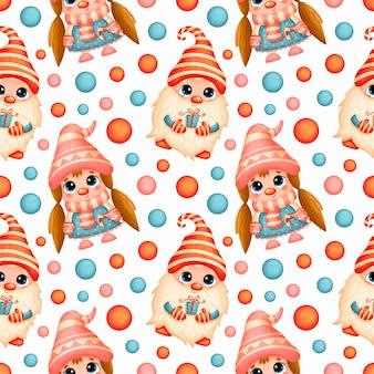 Cute cartoon christmas gnomes seamless pattern