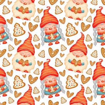 かわいい漫画のクリスマスノームシームレスパターン