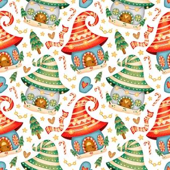 かわいい漫画のクリスマスの家のシームレスなパターン