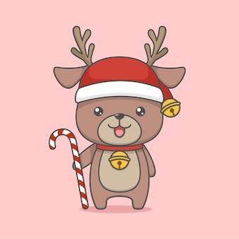 사탕 지팡이를 들고 귀여운 만화 크리스마스 순 록