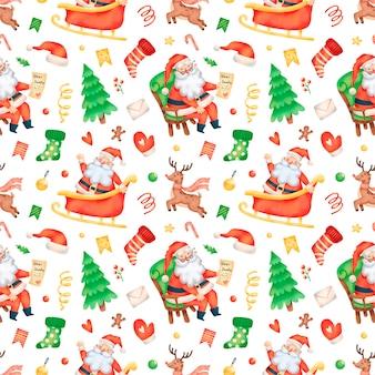 かわいい漫画のクリスマスサンタクロースシームレスパターン