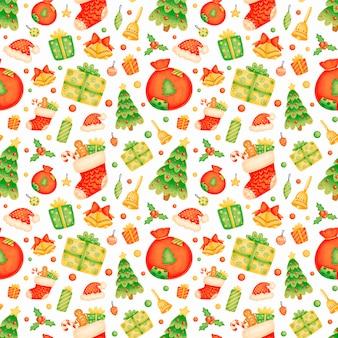 かわいい漫画のクリスマスのシームレスなパターン
