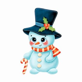 Милый мультяшный рождественский снеговик в шляпе и шарфе с леденцом