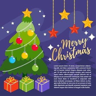 Cute cartoon christmas tree vector.