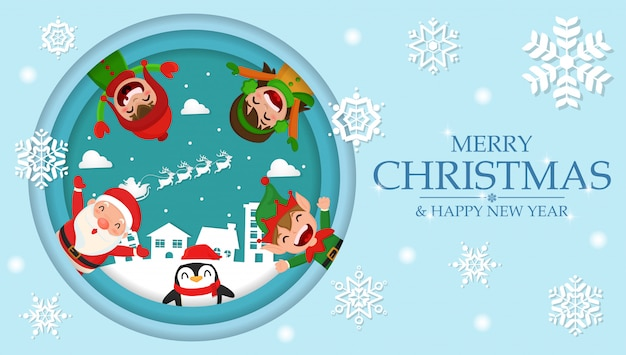 Cute cartoon christmas in the village background paper cut