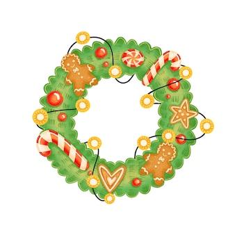 Милый мультяшный рождественский венок с пряничными человечками и леденцами